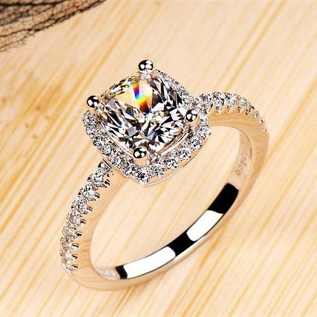 925 Anelli D'argento per le Donne Bridal Wedding Fine Jewelry Rettangolo Bianco Cubic Zirconia di Fidanzamento Accessori Anello