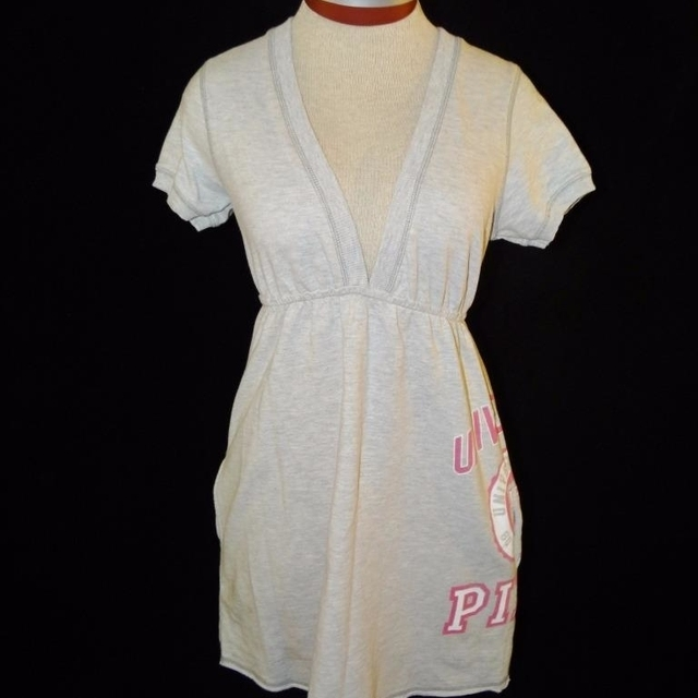 University Of Pink Dress Size S Small French Terry Gray V Neck Victoria Secret