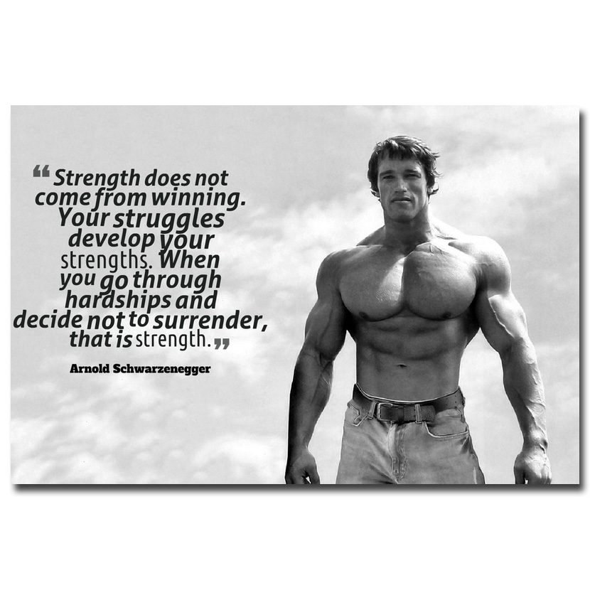 Arnold schwarzenegger bodybuilding motivational art silk poster nicoleshenting arnold schwarzenegger bodybuilding motivational quote silk poster 12x18 24x36inch inspirational wall picture 05 malvernweather Images