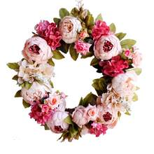 LanLan Simulation Peony Wreaths Floral Hoop Garland Wedding Decoration Household Wall Hanging Flowers(China)
