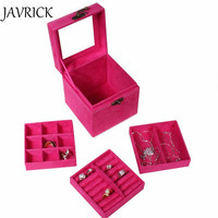 4 Colors Fashion Vintage Style Three Tier Jewelry Box Multideck Storage Cases ZB380