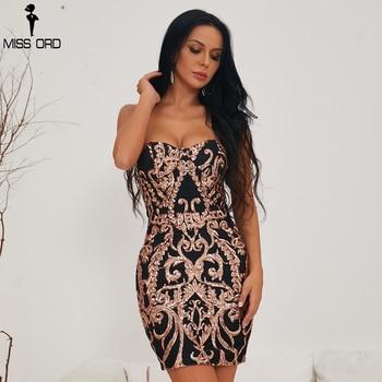 Sexy Bra Off Shoulder Retro Geometry Sequin Dresses knee length short Party Elegant Dress