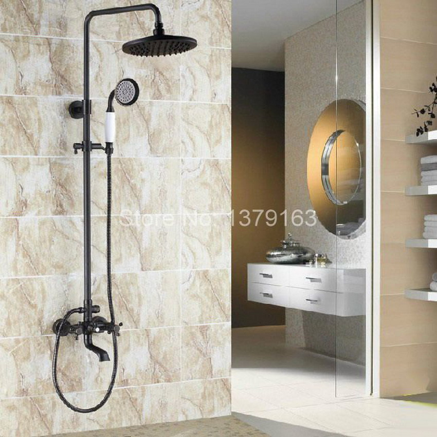 Wall Mounted Waterfall Bathroom Tub Faucet Hand Shower Rain Shower Set Black Oil Rubbed Brass ars382