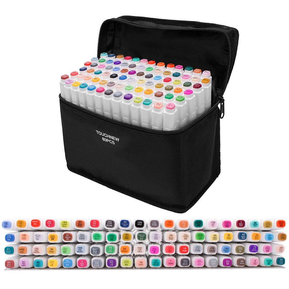 Touchfive علامات مجموعات علامات لرسم مجموعة أدوات رسم رسم مجموعة أقلام تحديد 24/30/48/60/80/168 ألوان للمدرسة الفن اللوازم