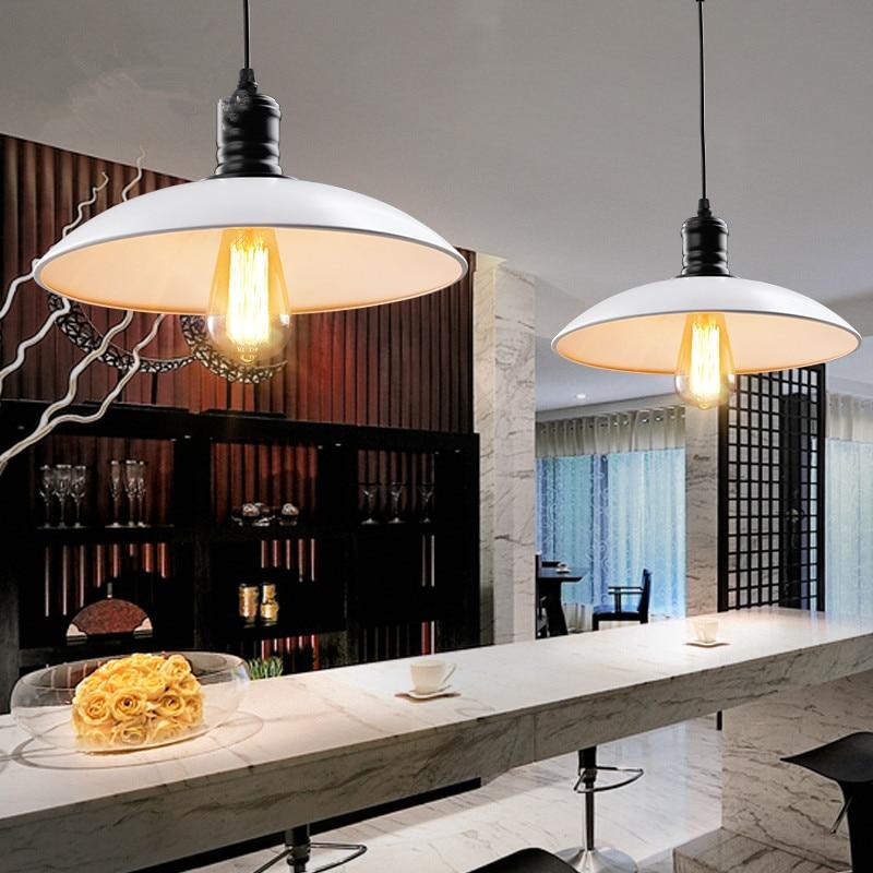 ФОТО Vintage Wrought Iron Lid Pendant Lights Black White Industrial Ceiling Lamps Loft Retro Hanging Lamp Light Fixtures luminaria