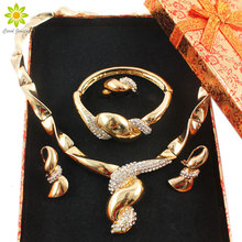 African Beads Jewelry Sets Women Crystal Gold Color Collar Statement Vintage Luxury Jewelry Set+Gift Boxes