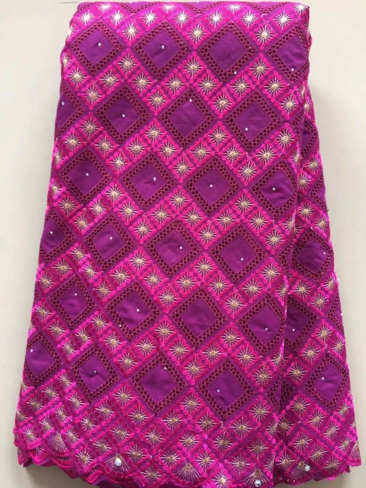 5 Yards/pc Wonderful fuchsia african cotton fabric and purple cotton embroidery design swiss voile lace for clothes dress L7-35 Yards/pc Wonderful fuchsia african cotton fabric and purple cotton embroidery design swiss voile lace for clothes dress L7-3