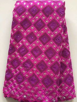 5 Yards/pc Wonderful fuchsia african cotton fabric and purple cotton embroidery design swiss voile lace for clothes dress L7-3