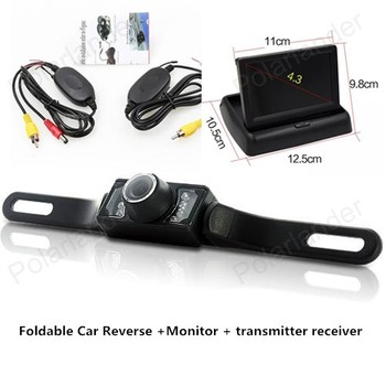best selling 4.3 inch Foldable TFT LCD Car Reverse with Rear View Monitor add CCD Car Camera+wireless transmitter receiver
