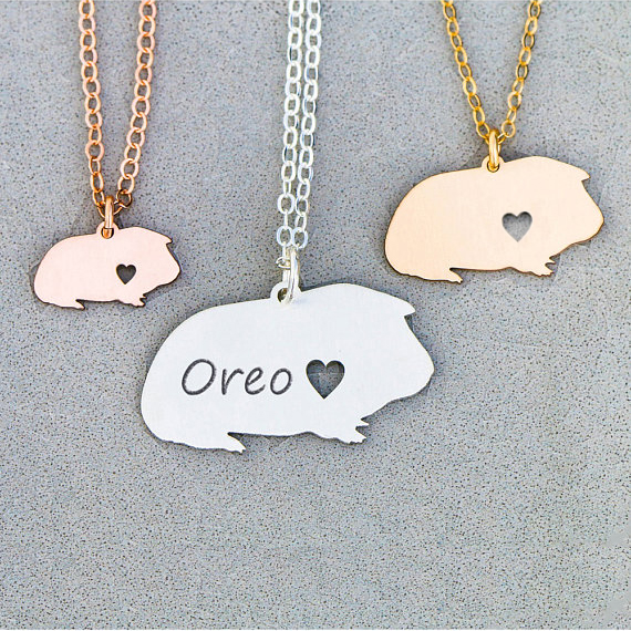 Personalized Guinea Pig Necklace Guinea Pig Gift Cute Pet Unique Gifts Jewelry A
