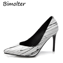цены Bimolter Fashion Print Cow Leather Pumps Thin Heels Pointed Toe Shoes Women Spring Summer Dress Wedding Party Leisure shoes C033