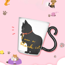 Cute Creative Cat Kitty Glass Mug Tea Cup Milk Coffee Kitten Little black/white cat Home Office Fruit Juice Drinkware