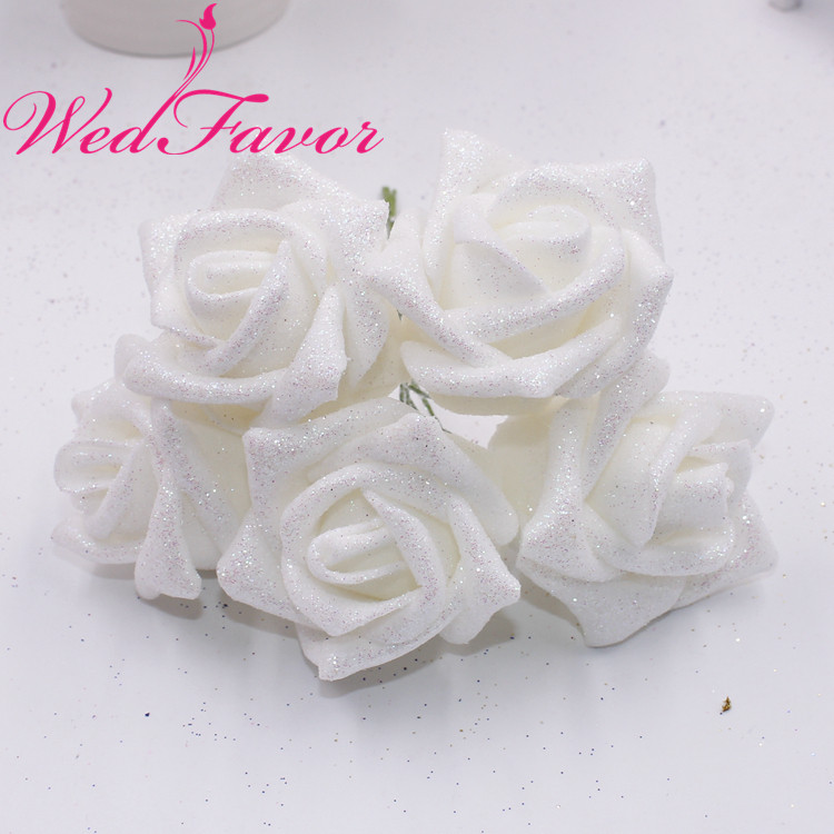 Image 4 - 50pcs 5 6cm Artificial Glittered EVA Foam Rose Flower Bridal Bouquet For Home Event Wedding Decoration-in Artificial & Dried Flowers from Home & Garden