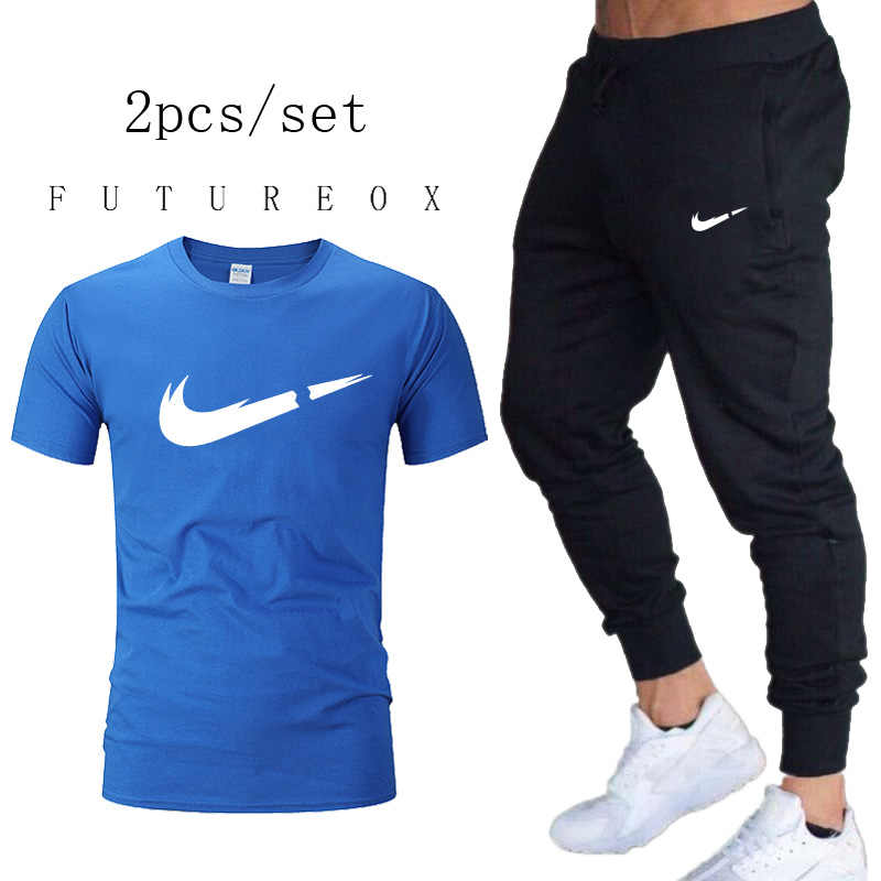2019 Running Sets Quick-drying Breathable T-short+Loose StretchMen Sport Pants Joggers Training Gym Fitness Summer