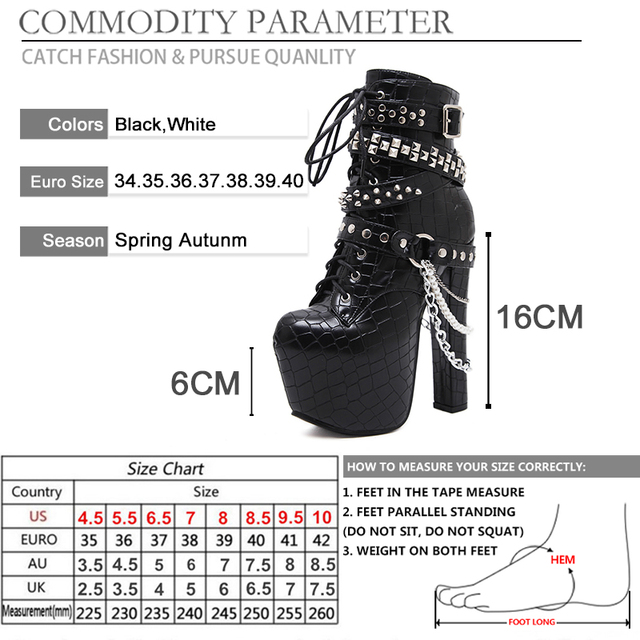 BYQDY Sexy Chains Rivets Platform High Heels Shoes Women Ankle Boots Platform Zip Punk Shoes Female Patent Leather Drop Shipping 5