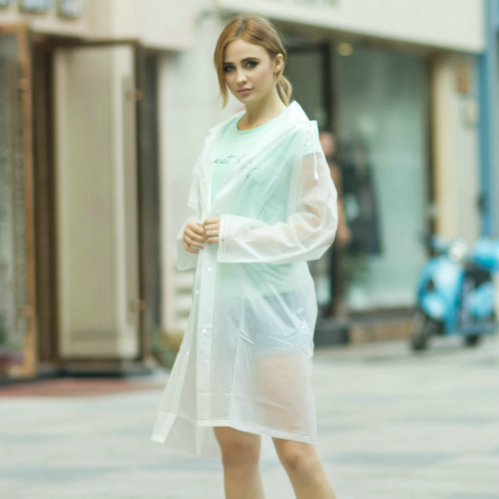 Environment Safety Outdoor Rainwear Waterproof Poncho Over Knee Length Raincoat With Hood For Men And Women