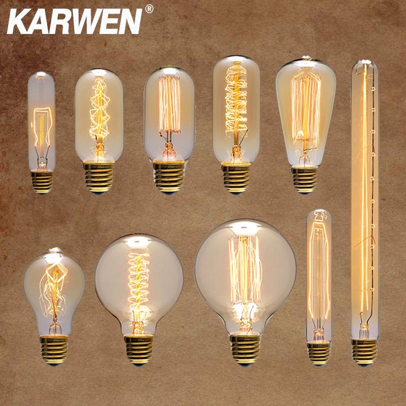 KARWEN Vintage Edison Bulb E27 40w 220v Ampoule Vintage Bulb Edison Lamp ST64 G80 G95 A19 T10 T45 Filament Incandescent Light