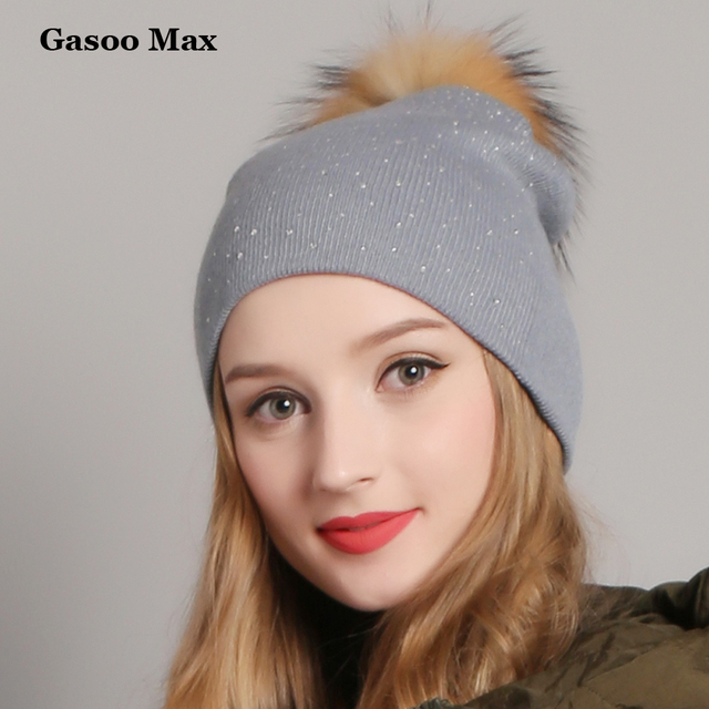 2019 Winter Hats for Women Knitted Real Pompom Beanie Hat Cap Girls Wool  Brand Hat with shining Rhinestones Female Skullies Hats cee072c9c6dd