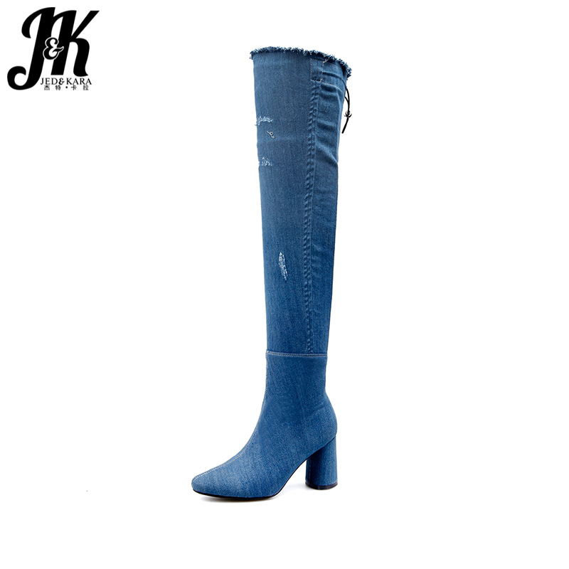 JK High Heels Denim Ladies Boots Holed Over The Knee Zipper Round Toe Footwear Ripped Spring Fashion Women Shoes Big Size 32-43 brand new fashion black yellow women knee high cowboy motorcycle boots ladies shoes high heels a 16 zip plus big size 32 43 10