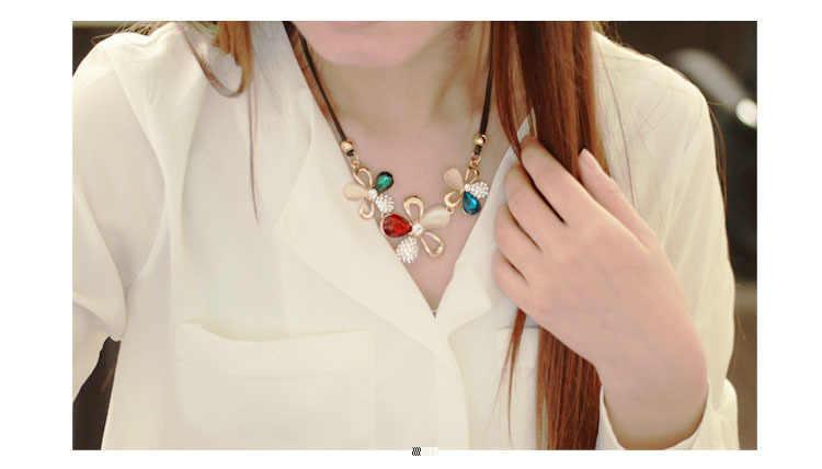 N389 De nieuwste mode-sieraden groothandel producten vermeld drie plum mozaïek kristal opaal ketting korte verklaring ketting