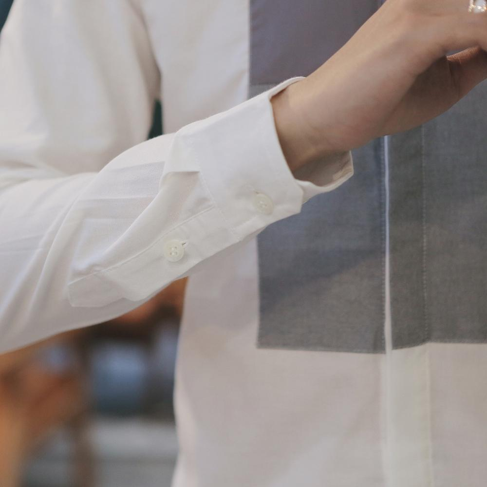 mode été style classique patchwork manches longues chemise robe - Vêtements pour hommes - Photo 6