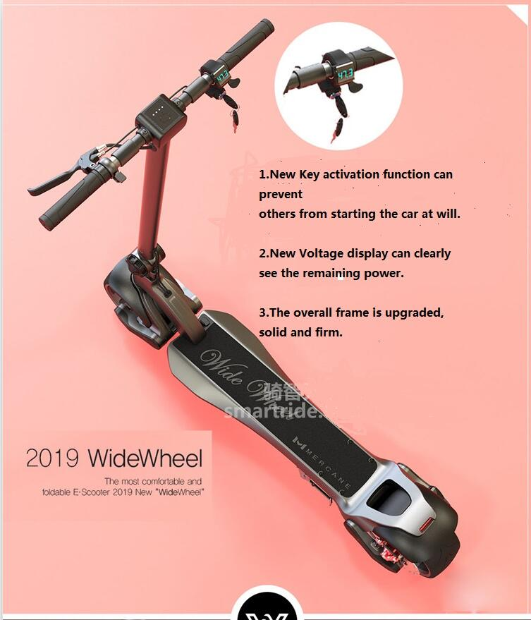 2019 New Mercane Wide Wheel Kick Scooter Foldable Smart Electric Scooter 48V 500W Two Wheel Single / Dual Motor Hover Board