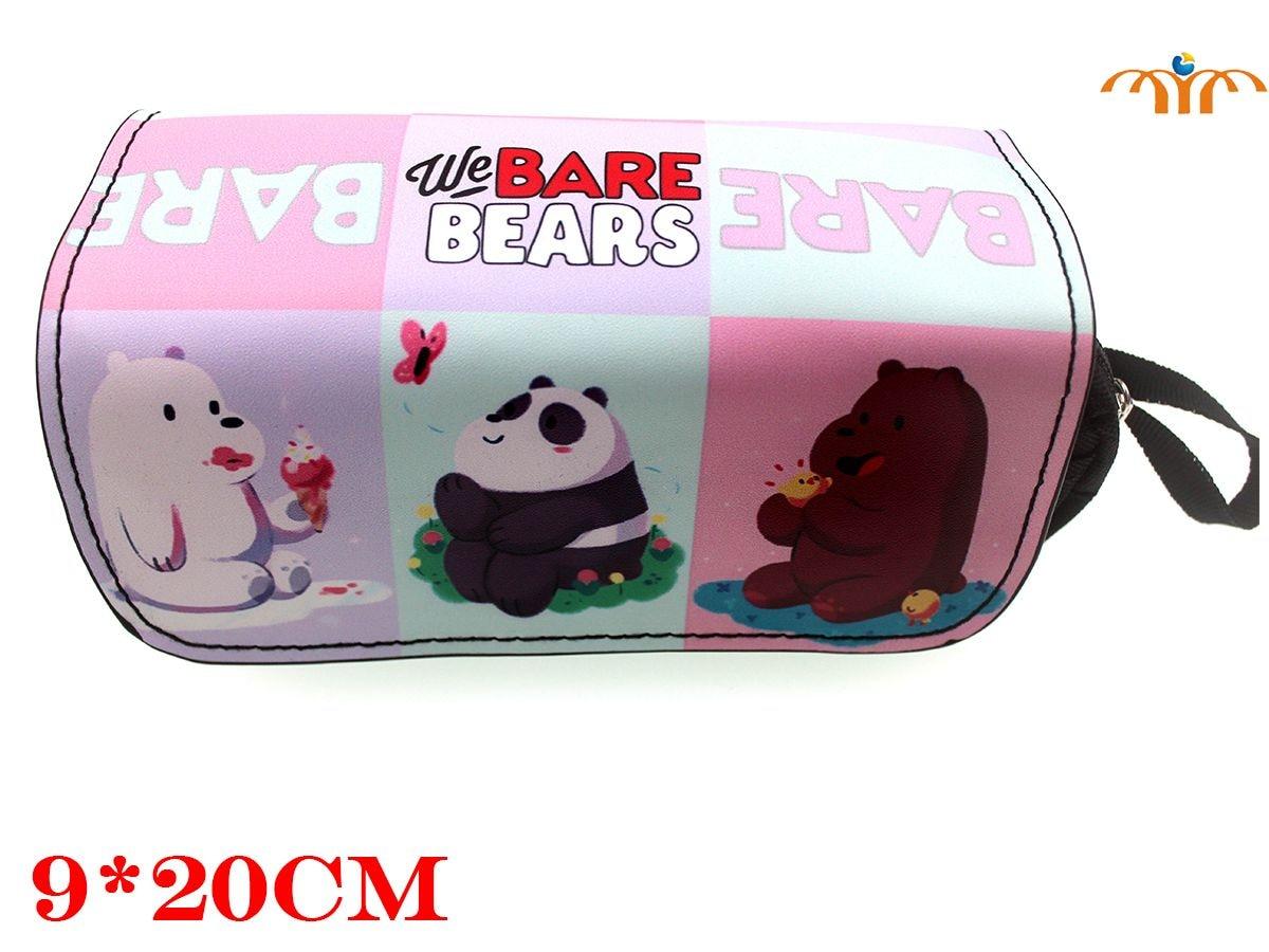 Giancomics We Bare Bears Anime Pencil Bag PU Leather Diversiform Pattern Fashion Student Rubber Stationery Pocket Cool Holder