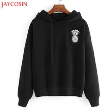 JAYCOSIN Pineapple Print Hooded Hoodies for Women sudaderas mujer 2017 New Casual Fitness Pullovers Sweatshirts Drawstring #30(China)