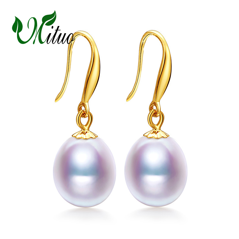 MITUO 18k gold earrings pearl jewelry, Antiallergic 18K Real Gold stud earrings For Women 2017 New Fashion long earrings starry pattern gold plated alloy rhinestone stud earrings for women pink pair