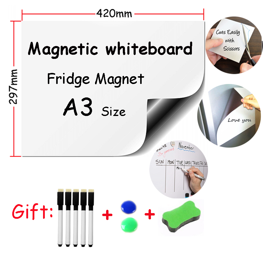 1pc A3 Size Magnetic Whiteboard Soft Iron Wall Sticker Office Message Erasable Kids Drawing Message Board Fridge Magnets