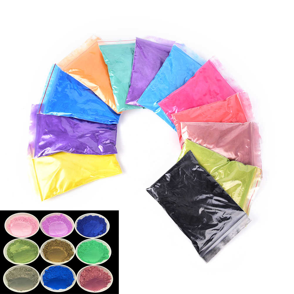 50g/Pack Healthy Natural Mineral Mica Powder DIY For Soap Dye Soap Colorant Makeup Eyeshadow DIY Soap Powder 12 Colors