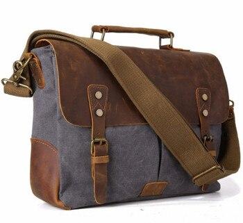 Bolso de mensajero de lona Vintage para hombre, bolso de cuero de Caballo Loco para hombre, bolso de escuela, bolso militar con cierre para hombre, bolsos de mensajero