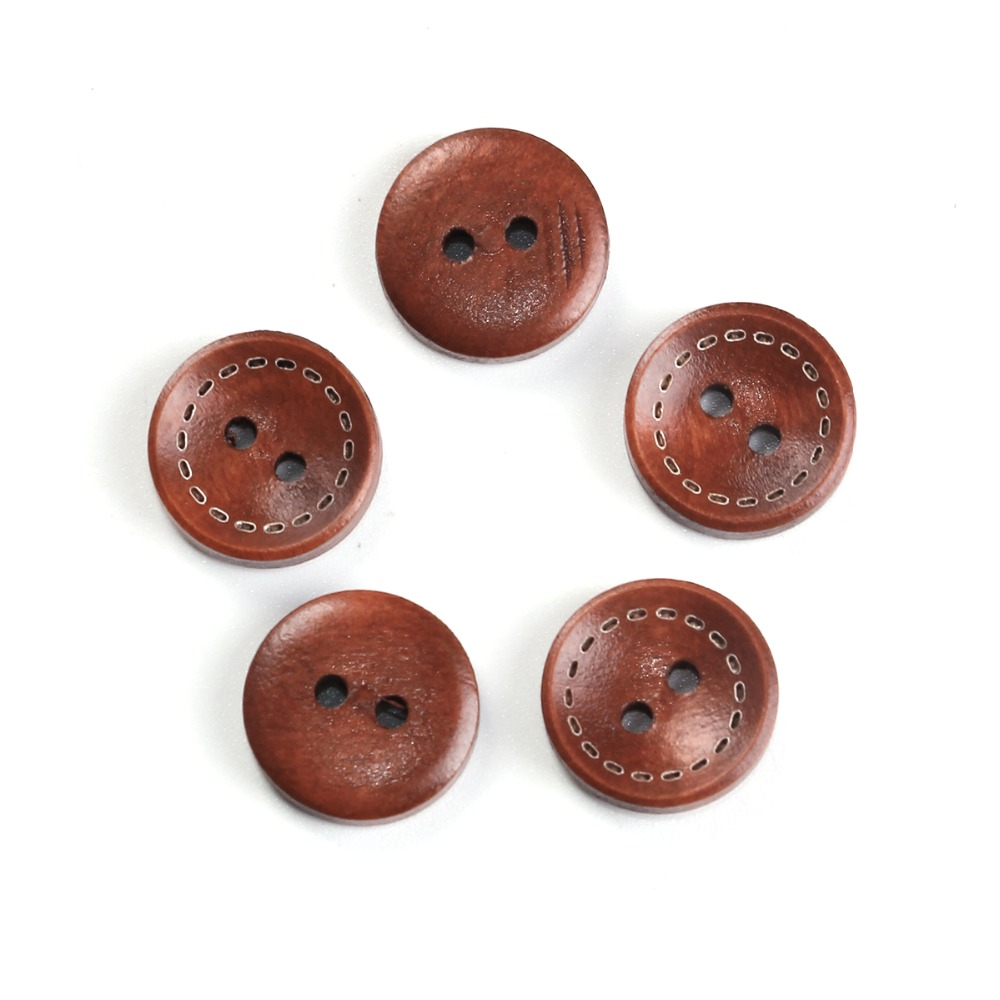 Simply crafts Pack of 10 Wood Sewing Button Scrapbooking Round Black 2 Holes 3cm