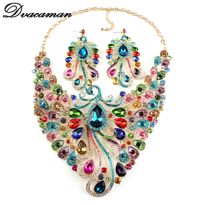 2016 Crystal Wedding Peacock Colorful Wedding Gem Statement Necklaces& Pendants Earrings Jewelry Sets Maxi Bridal Accessories 74