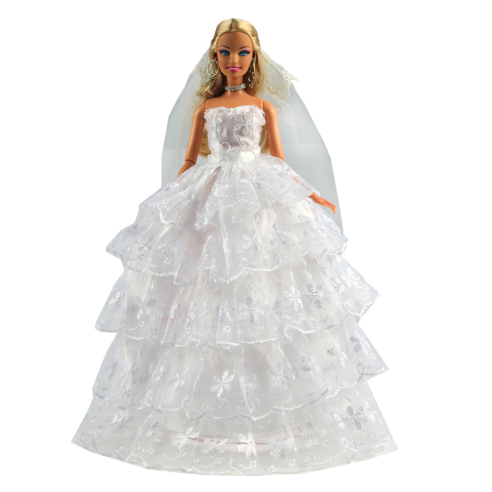 Fashion Hihg Quality Handmade Doll Accessories Product White Evening Party Wedding Dress Clothes For Barbie Toys For Children