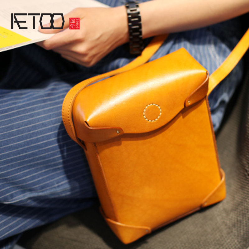 AETOO Leather Handle Shoulder Bag Retro Style Small Square Bag Original Artistic Hand кровать relax flocked air bed queen 20256 1