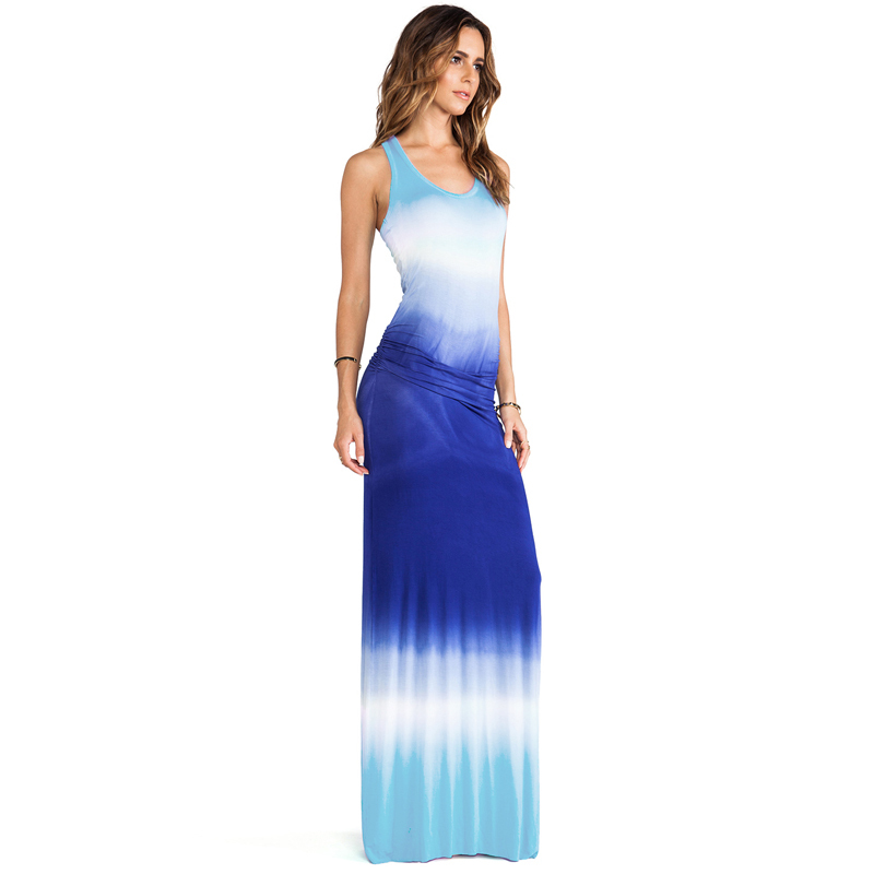 Tie Dye Dress 2015 New Womens Sexy Maxi Dresses Summer Plus Size