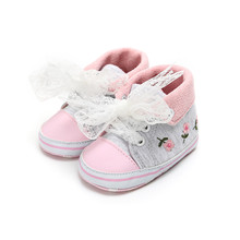 New Design Baby Shoes For Girl Embroidery Flower Lace-up Anti-slip Sneakers Newborn Spring Autumn Toddlers Wholesale