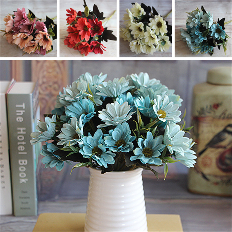 French Rose Floral Bouquet Artificial Fake Peony Flower Arrange Table Daisy Wedding Decor Party Red