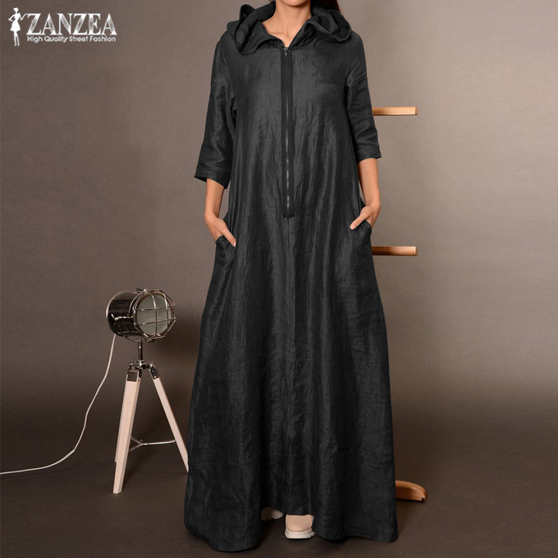 2019 ZANZEA Autumn Hooded Dress Women's Sundress Plus Size Punk Casual Zipper Long Vestidos Female Long Sleeve Tunic Robe Femme