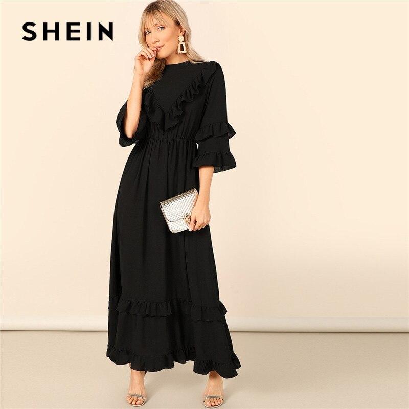 Шеин с вырезом на спине, многослойное платье с воланом, хиджаб, черное платье макси, женское весеннее скромное однотонное платье с высокой т...