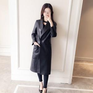 Image 3 - Manteau en cuir véritable femme, printemps automne, veste Long à revers femme, manteau Slim en peau de mouton, 100%