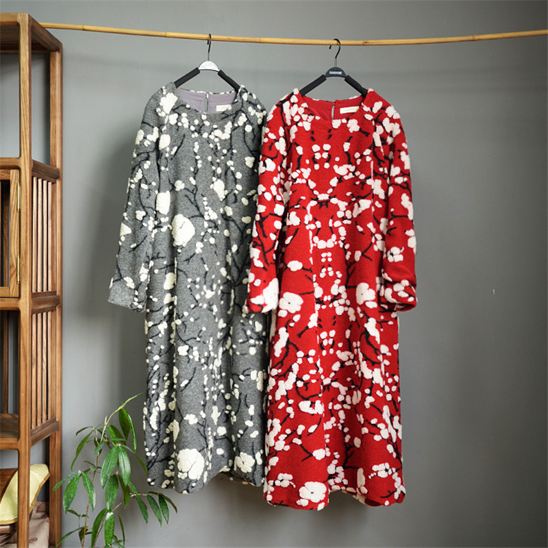 SCUWLINEN 2019 Women Winter Dresses Vintage Plum Blossom Jacquard Loose Thick Warm Wool Christmas Dress Long