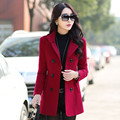 New 2016 Fashion Spring Women Wool Jackets Double-breasted Button Lapel Multicolor Wool Coat Outwear Winter Coat Plus Size A149