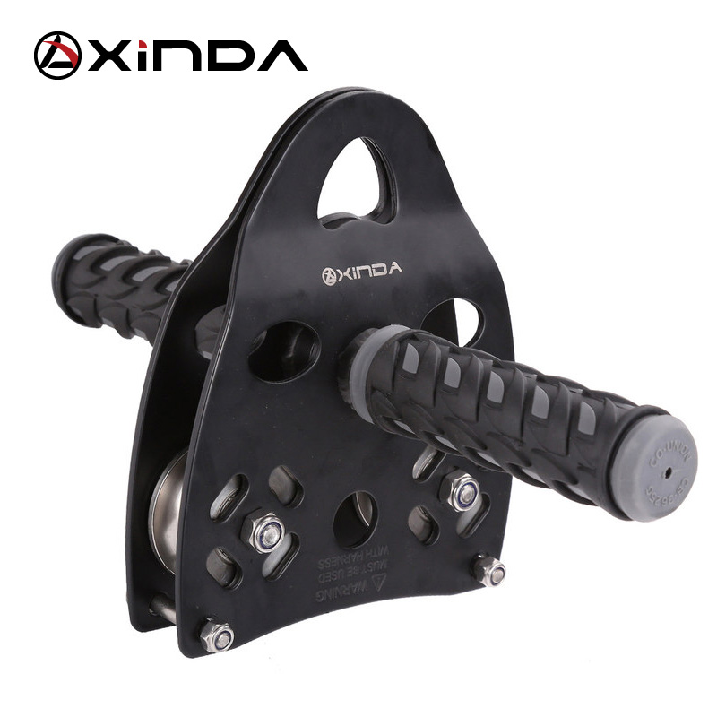 XINDA Professional Handle Pulley Roller Gear Արտաքին ժայռերի բարձրանում Tyrolean Traverse Crossing Weight Carriage Equipment Equipment