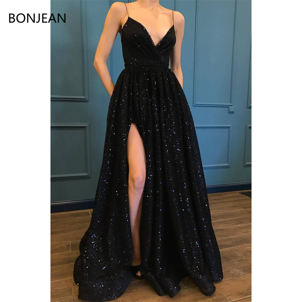 Prom     Dresses   A-Line Spaghetti Straps V-Neck Sweep Brush Train Sequins   Dresses   Long Formal Fancy Evening   Dress   Gowns