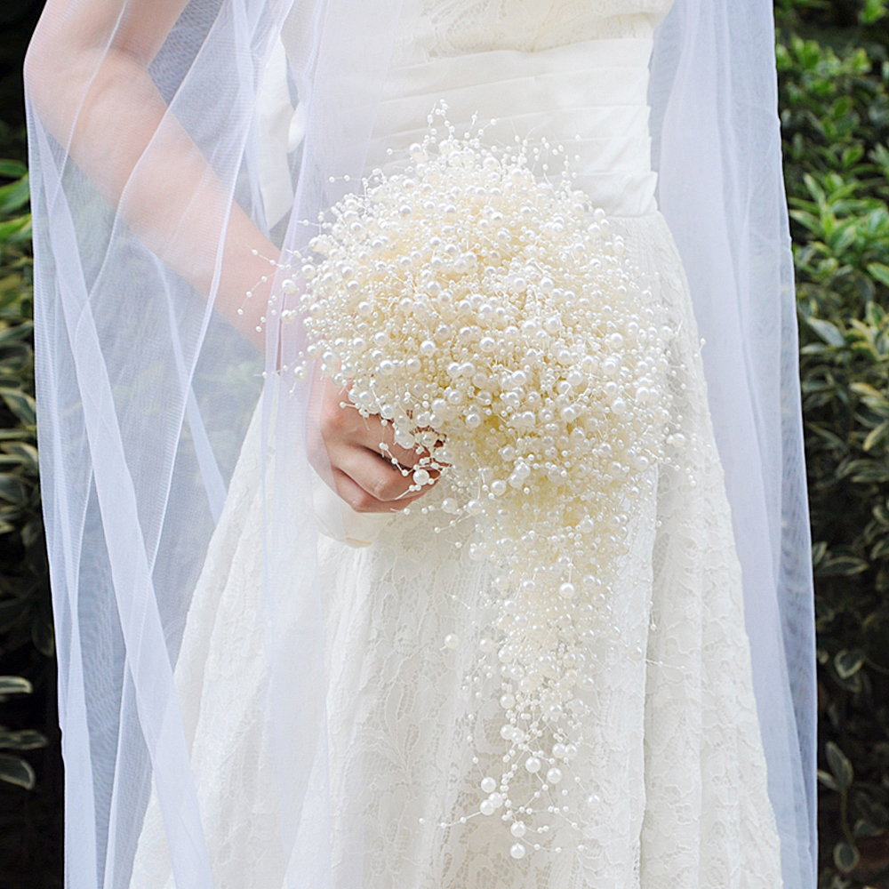 TOPQUEEN F24 2018 Wedding Bouquet Bridal Holding Flowers Pure Pearls Bridesmaid Flowers Fashion Bridal Bouquets In Stock