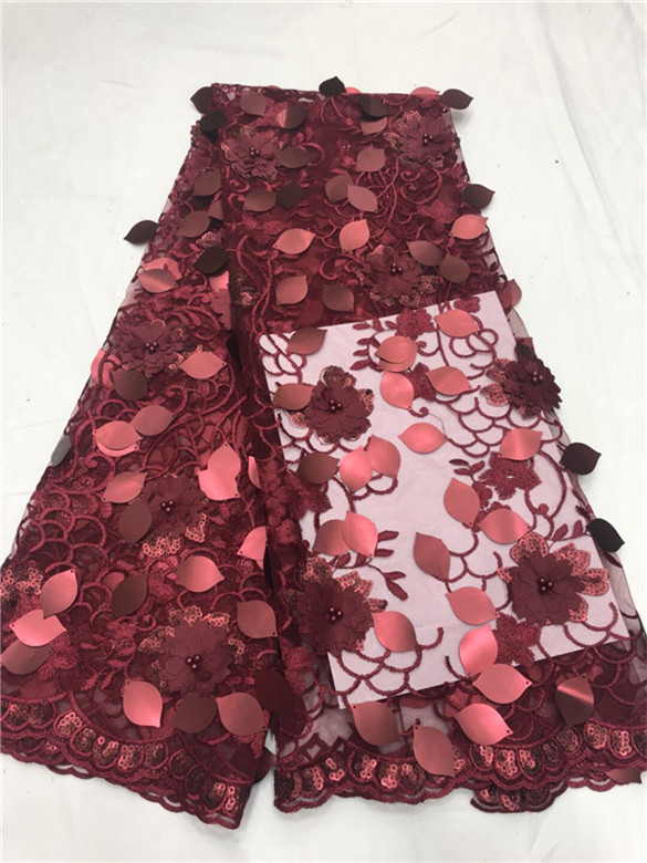 French Lace Fabric Fashion High Quality Black red sequins 3D Flowers Fabric African Beautiful Mesh Lace
