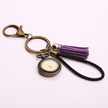Vintage Steampunk Clock Keychains Fashion Classic Purple Tassel Pocket Watch Black Leather Car Key Chains for Men Gift