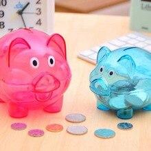 New Lovely Cartoon Piggy Bank Transparent Money Box Plastic Piggy Bank PVC Lovely Cute Pig Shape Child Birthday Gift Toys